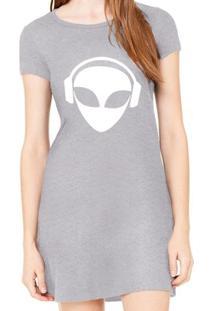 Vestido Criativa Urbana Estampado Alien Dj - Feminino-Cinza