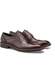 Sapato Social Brogan Brogue Elgin Masculino - Masculino-Café