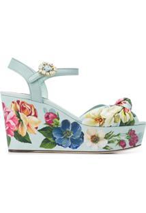 Dolce & Gabbana Sandália Com Estampa Floral - Azul