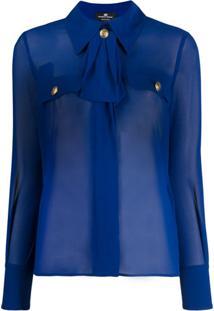 Elisabetta Franchi Blusa De Alfaiataria Translúcida - Azul