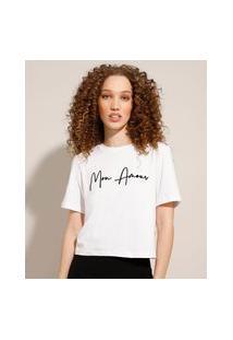 """Camiseta Mon Amour"""" Flocada Manga Curta Decote Redondo Branca"""""""