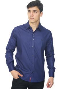 Camisa Slim Victor Deniro Azul Lisa
