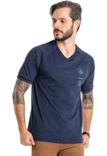 Camiseta Raglan Com Bordado Azul Bgo