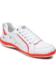 Sapatênis Couro E Cla Cle - Masculino-Branco+Vermelho