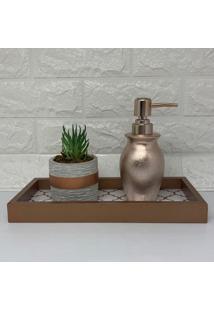 Kit Banheiro Com Bandeja, Porta Sabonete LãQuido Rose Gold E Vaso - Cinza/Preto/Ros㪠- Feminino - Dafiti