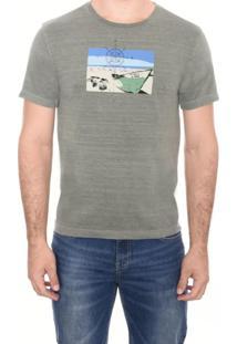 Camiseta Slim M/C Gola C Esto Silk Barco M.Officer Verde