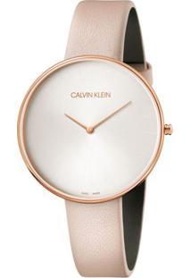 Relógio Calvin Klein Feminino Em Couro Bege