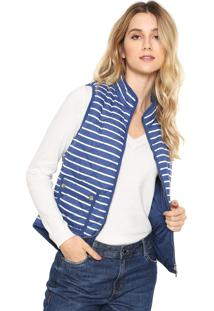 Colete Polo Wear Premium Listrado Azul/Branco