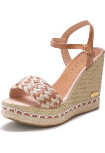 Sandã¡Lia Sb Shoes Anabela Ref.3227 Whisky - Caramelo - Feminino - Tãªxtil - Dafiti