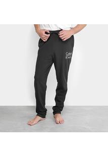 Calça Pijama Calvin Klein Cotton Masculina - Masculino-Preto