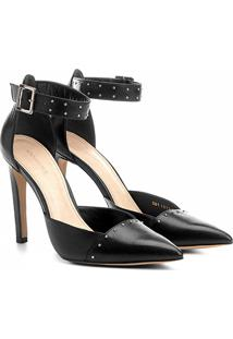 Scarpin Couro Shoestock Salto Alto Rebites - Feminino-Preto