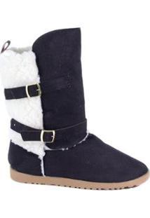 Bota Feminina Suéde Jr Shoes - Feminino-Preto
