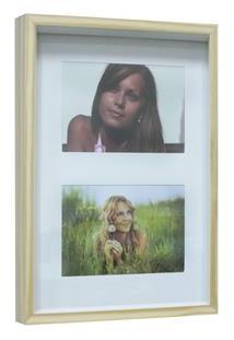 Painel Retangular Para Fotos Kapos Wood Em Madeira 20 X 30 Cm - Branco/Natural