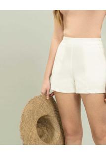Shorts Cintura Alta Branco Off White - Lez A Lez
