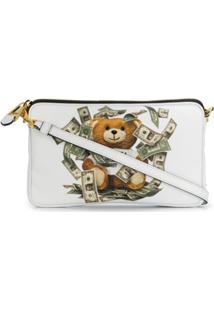Moschino Clutch Com Zíper Teddy Bear - Branco