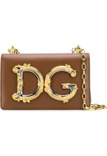 Dolce & Gabbana Bolsa Tiracolo Com Logo Dg Barroco - Marrom