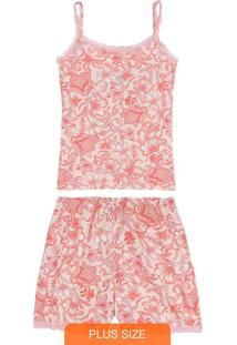 Pijama Rosa Arabesco Em Viscose Com Renda