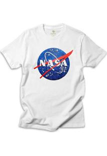 Camiseta Geek Cool Tees Nasa Vintage - Masculino-Branco