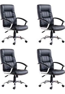 Conjunto Com 4 Cadeiras De Escritório Presidente Office Plus Preto