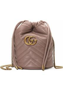 Gucci Bolsa Bucket Gg Marmont Mini - Marrom