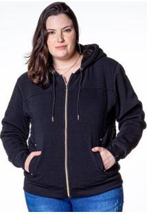 Jaqueta Plus Size Besni Capuz Feminina - Feminino-Preto