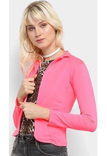 Blazer Flora Zuu Sem Fechamento Neon - Feminino-Pink
