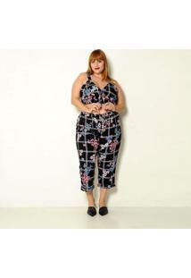 Calça Plus Size Pantacourt Xadrez Com Flores Feminina - Feminino-Preto