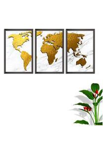 Quadro Oppen House 60X120Cm Mapa Mundi Dourado Moldura Sem Vidro Fundo Branco Altas Países Decorativo Interiores
