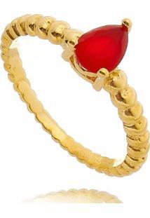 Anel Lua Mia Joias Solitário Vermelho De Bolinhas Com Gota De Zircônia Banho Ouro