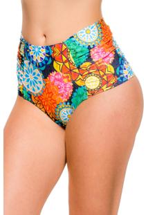 Calcinha Blue Horse Zelia Hot Pants Retro Franzido Lateral Lycra Estampado Mandala Colorida