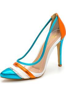 Sapato Scarpin Salto Alto Fino Em Azul Metalizado E Branco E Laranja Metalizado - Kanui