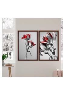 Quadro Love Decor Com Moldura Chanfrada Flores Vermelhas Madeira Escura - Médio