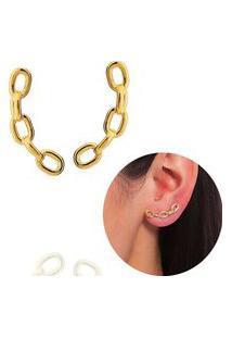Brinco Ear Cuff Corrente Elos Dourado