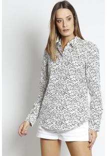 Camisa Abstrata- Branca & Preta- Lacostelacoste