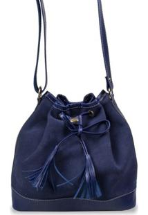 Bolsa Feminina Artlux Em Camurça - Feminino-Azul