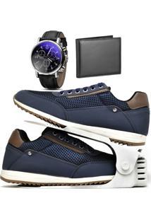 Kit Sapatênis Sapato Casual Com Organizador, Carteira E Relógio Dubuy 1100Db Azul - Kanui