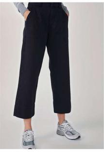 Calça Feminina Wide Leg Em Sarja De Algodão Preto