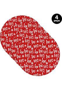Capa Para Sousplat Mdecore Natal Ho Ho Ho! Vermelho 4Pçs