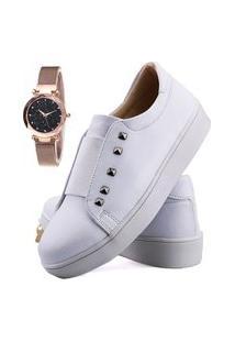 Sapatênis Elástico Neway Branco + Relógio
