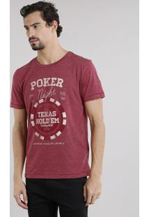 "Camiseta Masculina ""Poker Night"" Manga Curta Decote Careca Vinho"