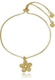 Pulseira Infantil Flor Di Capri Semi Jóias X Ouro Dourado - Tricae