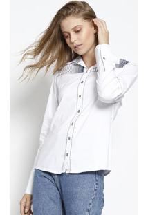 Camisa Com Recortes Listrados - Branca & Azul Marinhoscalon