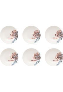 Conjunto 6 Pratos Fundos Oxford 20Cm Cerâmica Unni Bothanica Branco