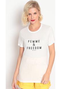 """Camiseta """"Femme & Freedom""""- Branca- Colccicolcci"""