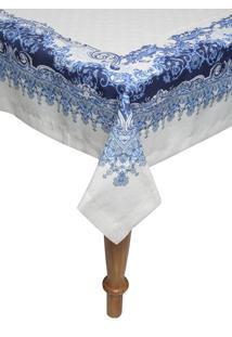 Toalha De Mesa Retangular Kacyumara Linha K Linho 160X270Cm Nobele Azul