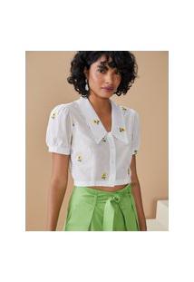 Amaro Feminino Blusa Cropped Com Girassóis Bordados E Gola, Branco
