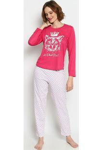 "Pijama ""Le Chat Fou!""- Pink & Branco- Zulaizulai"