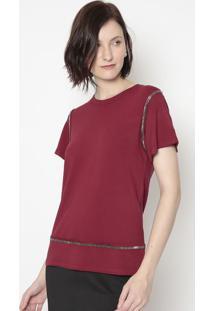 Blusa Em Moletinho Com Pedrarias- Vermelho Escuro- Sshirley Dantas