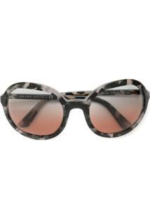 Prada Eyewear Óculos De Sol Arredondado - Preto
