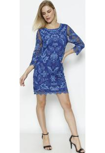 Vestido Em Tule Com Bordados- Azul Marinho & Azul Claro